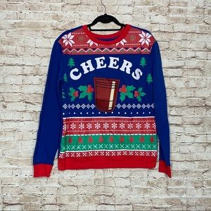 Cheers blue ugly holiday sweater blue Sz L new
